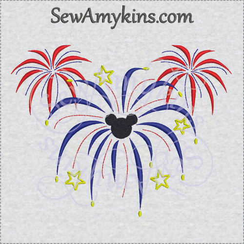 mickey mouse head fireworks 4th july embroidery design
