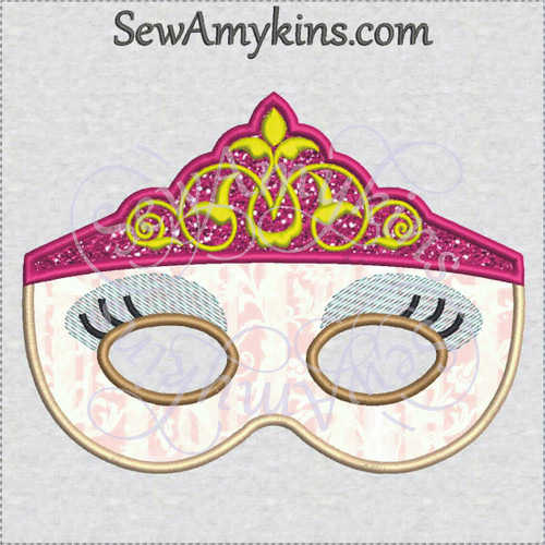 Princess queen royal mask applique halloween embroidery