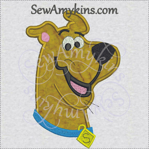 Scooby Doo face applique machine embroidery design dog