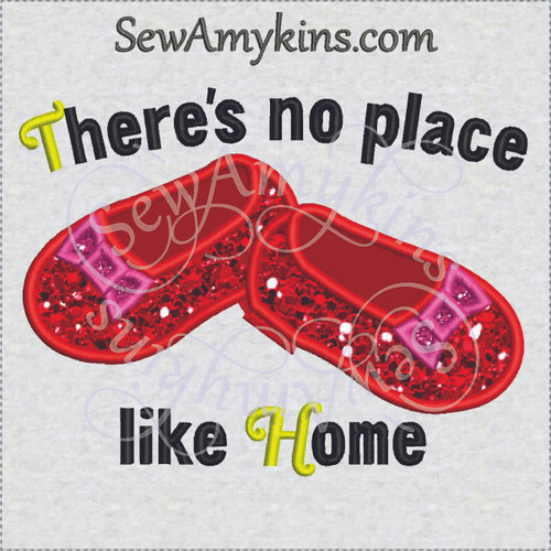 ruby slippers applique no place like home embroidery toddler shoes 3 applique colors