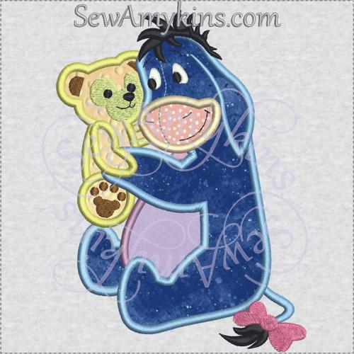 Eeyore hugs Duffy bear applique machine embroider design
