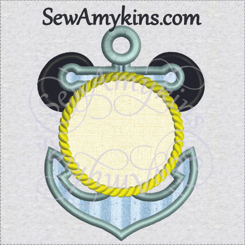 mickey mouse anchor rope border applique machine embroidery design, frame