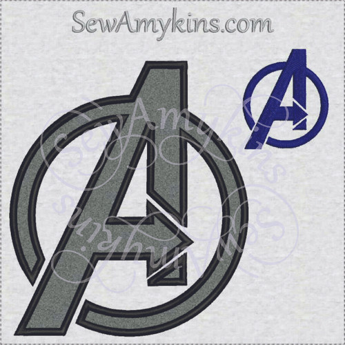 avengers logo fill stitch and applique machine embroidery