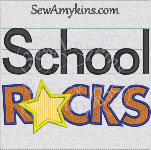 school rocks applique star machine embroidery design