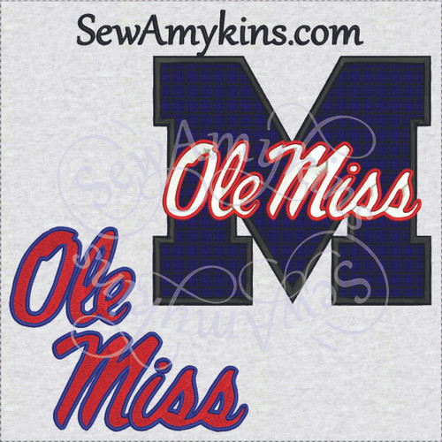 Ole Miss applique m machine embroidery designs U of MS