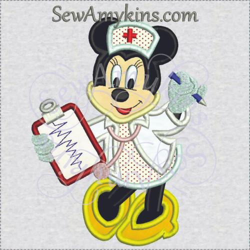 minnie mouse nurse applique machine embroidery design medical