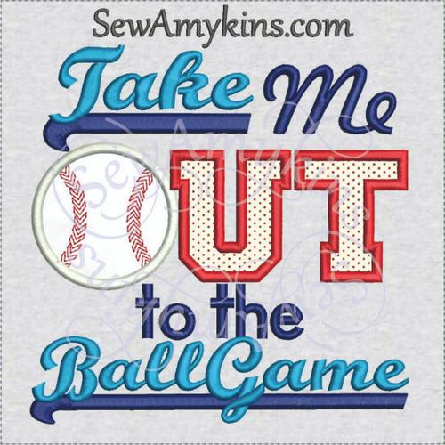 baseball applique take me out to the ballgame machine embroidery design