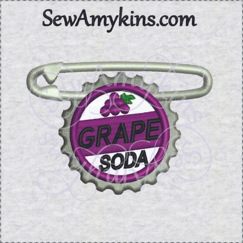 Up Ellie Carl grape soda pin badge cap applique machine embroidery