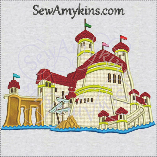prince Eric castle little mermaid Ariel applique embroidery