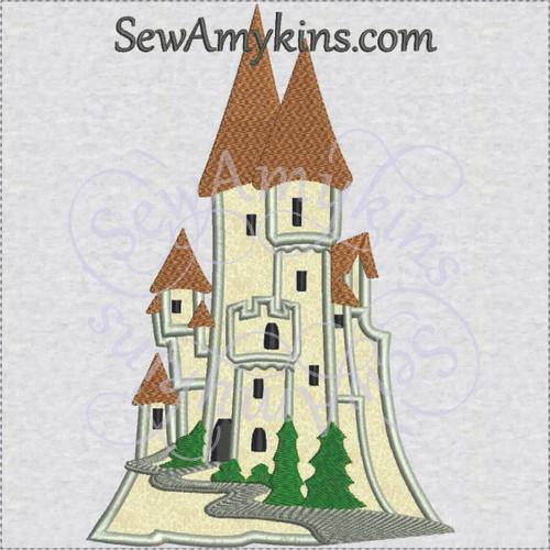 Snow White castle applique machine embroidery