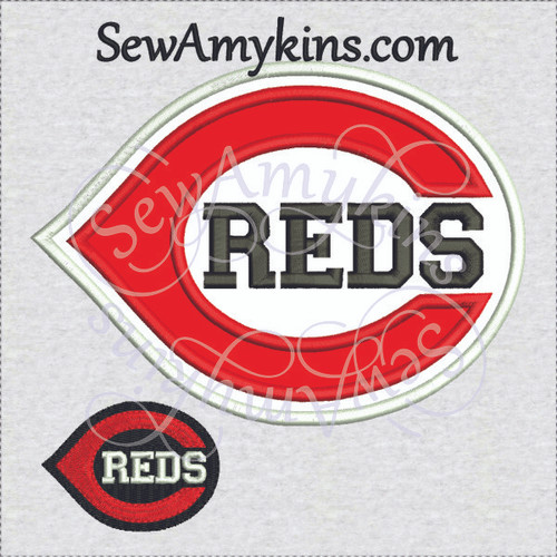Cincinnati reds baseball logo applique machine embroidery design