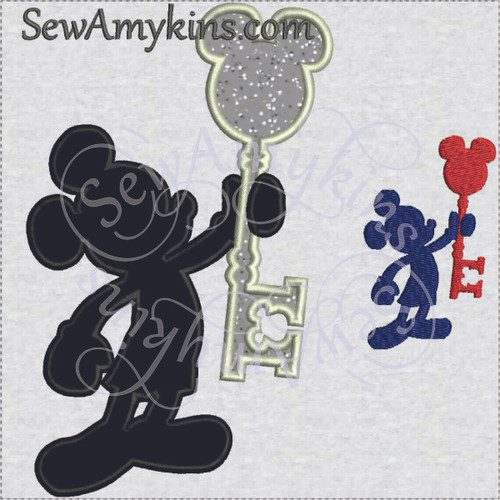 Mickey Mouse silhouette key applique logo machine embroidery DVC welcome