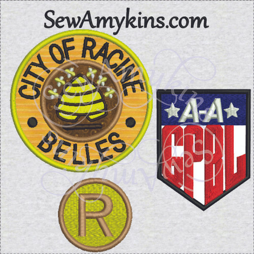 Racine Belles AAGPBL League of their own applique logo patch embroidery design set