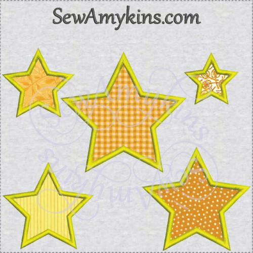 star applique machine embroidery design small