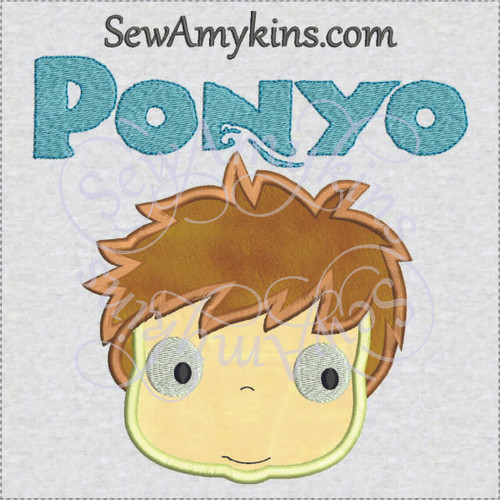 Ponyo face Japanese fish girl applique machine embroidery design word