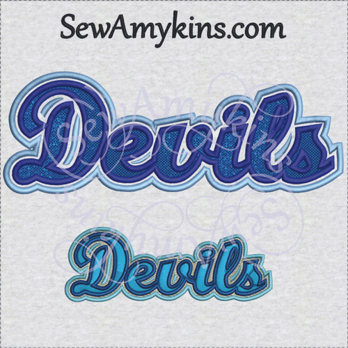 devils word name applique fill stitch machine embroidery design