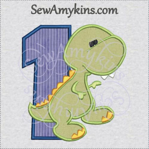 dinosaur baby 1 one first applique machine embroidery design dino birthday boy