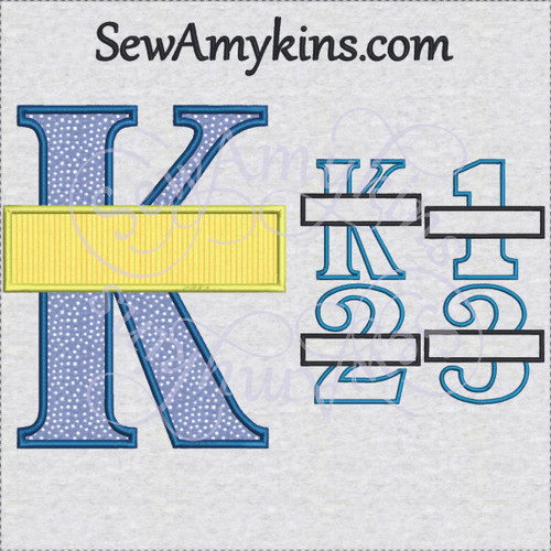 school grade frames split applique machine embroidery K 1 2 3