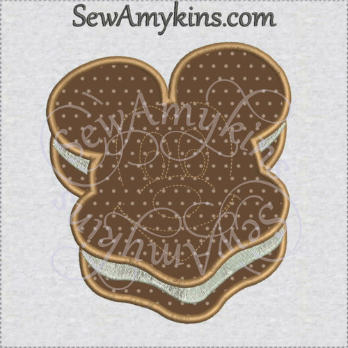 Mickey mouse ice cream sandwich applique machine emrboidery design