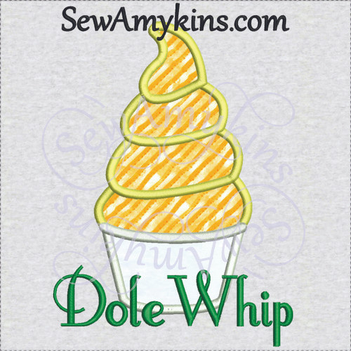 Dole Whip pineapple orange ice cream applique WDW treat machine embroidery