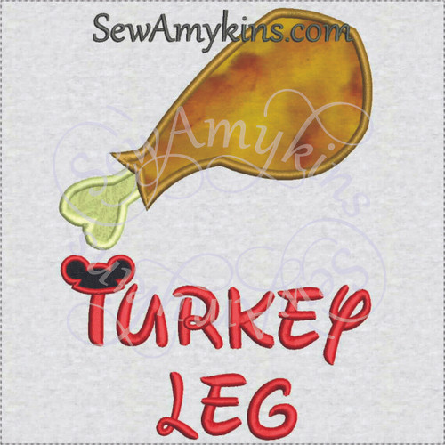 WDW turkey leg snack applique machine embroidery design