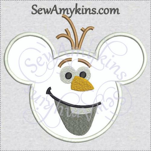 Olaf snowman mouse head ears applique machine embroidery design