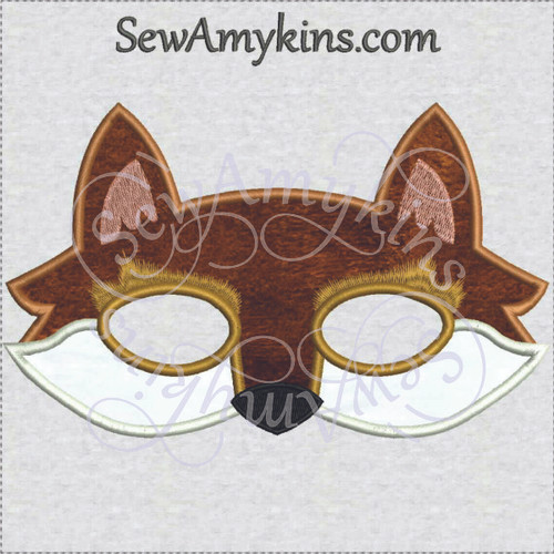 fox animal mask applique machine embroidery design foxy