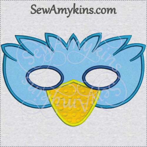 Bird mask applique ith in the hoop machine embroidery Halloween design
