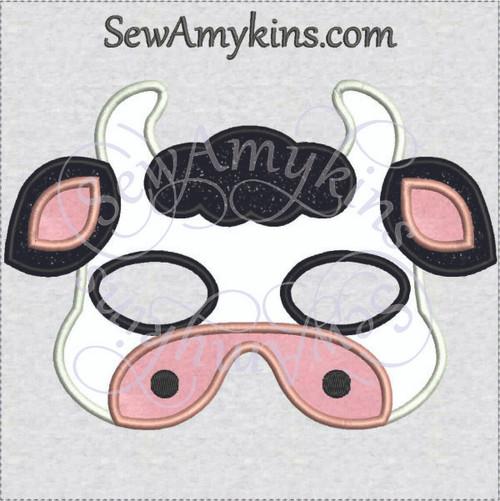 Cow mask applique Halloween calf machine embroidery design