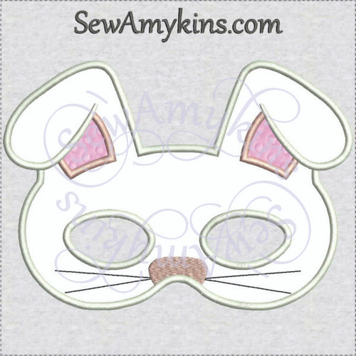 Bunny Mask Halloween applique machine embroidery design rabbit