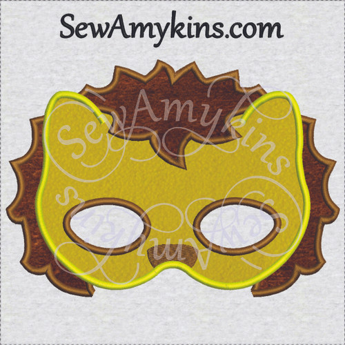Lion jungle king mask applique ith in the hoop machine embroidery Halloween design