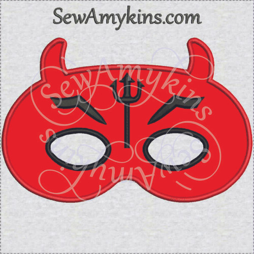 Devil mask Halloween applique machine embroidery design face