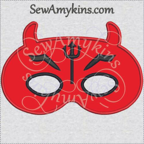 Devil mask Halloween applique machine embroidery design face