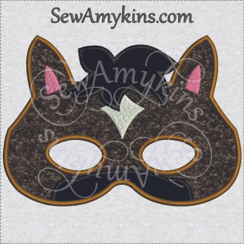 Horse Mask applique Halloween machine embroidery design face