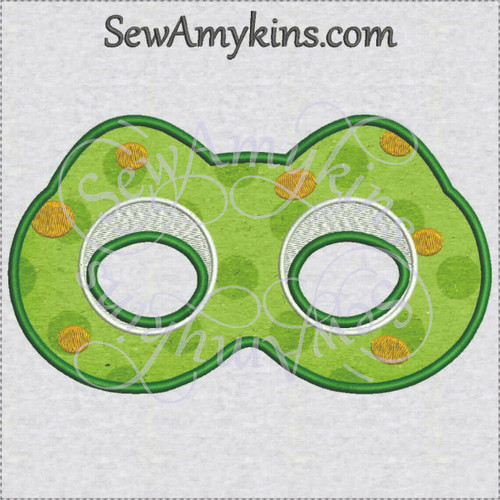 Frog mask applique Halloween face machine embroidery design