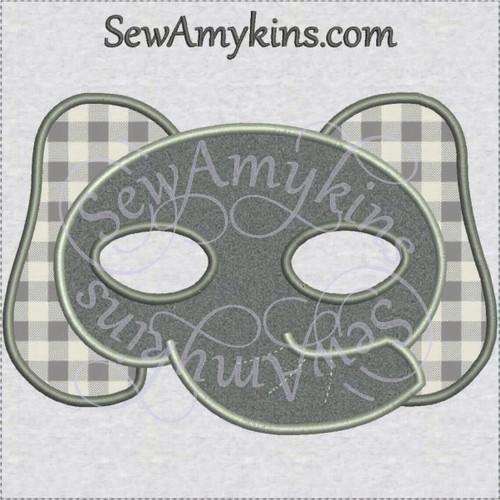 Elephant face mask Halloween applique machine embroidery design