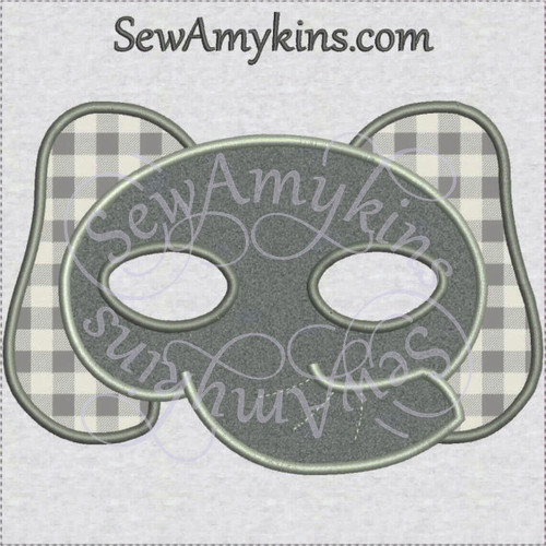 Elephant face mask Halloween applique machine embroidery design