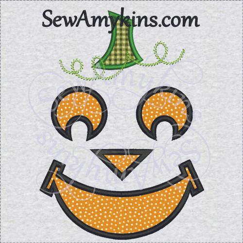 Pumpkin jack o lantern Halloween applique machine embroidery 1