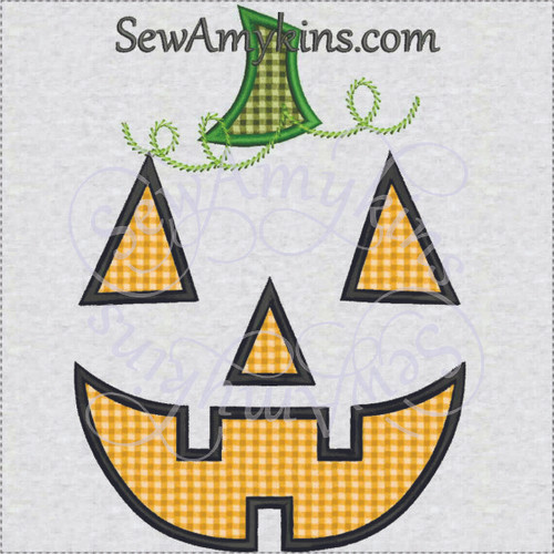 Pumpkin jack o lantern Halloween applique machine embroidery 2