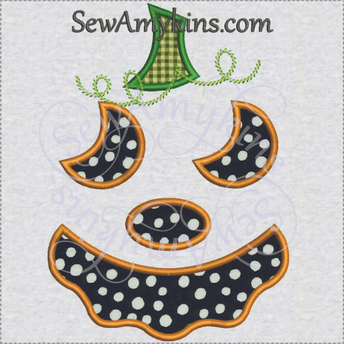 Pumpkin jack o lantern Halloween applique machine embroidery 3