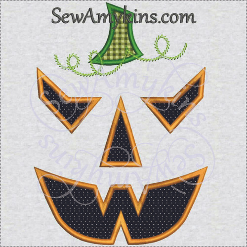 scary Pumpkin jack o lantern Halloween applique machine embroidery 4