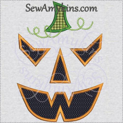 scary Pumpkin jack o lantern Halloween applique machine embroidery 4