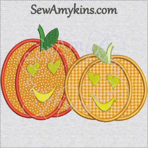 Pumpkin couple love applique machine embroidery design two pumpkins