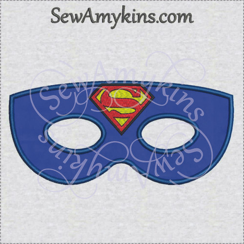 Superman hero mask applique halloween machine embroidery