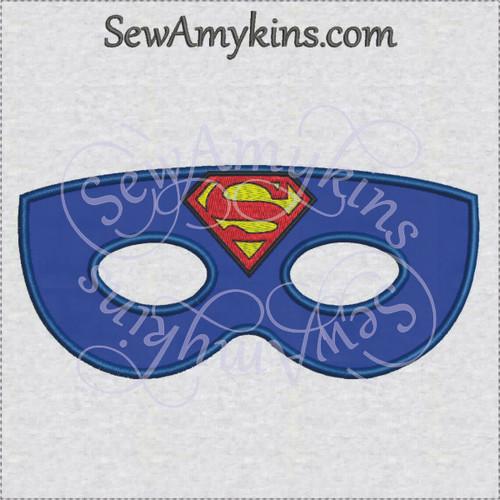 Superman hero mask applique halloween machine embroidery