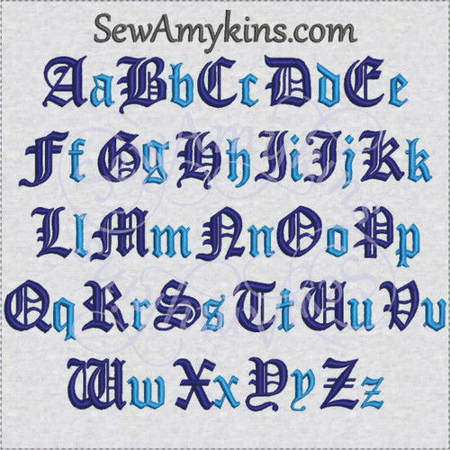 Old English pirate formal diploma font alphabet machine embroidery