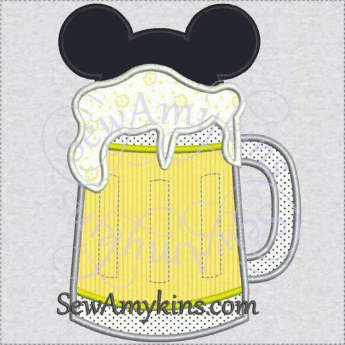 Mickey Mouse beer stein glass EPCOT Germany applique machine embroidery