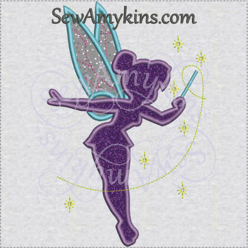 Tink Tinkerbell silhouette shadow applique machine embroidery design fairy