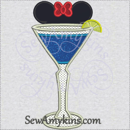 Minnie Mouse martini glass beverage applique machine embroidery design