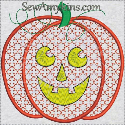 Pumpkin Jack o lantern looks like lace machine embroidery design